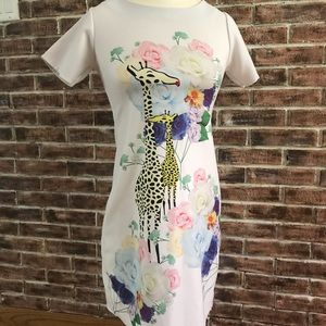 Mango White Dress with Giraffe on Front Size Small